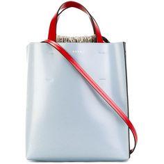 Marni Museo tote (4,200 SAR) ❤ liked on Polyvore featuring bags, handbags, tote bags, black, drawstring purse, colorblock tote, color block purse, handbags totes and tote purses