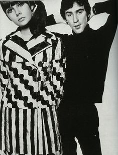 Chrissie Shrimpton wearing an Ossie Clark coat, and Ossie Clark himself, 1960s