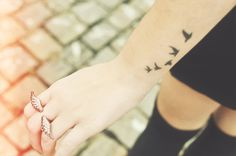 Bird Tattoo On Wrist › Awesome Five Flying Birds Silhouette Tattoo on Wrist