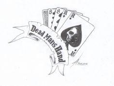 Dead mans hand: tattoo McMurphy had in One Flew Over the Cuckoos Nest, I love th. Future Tattoos, New Tattoos, Hand Tattoos, Tattoos For Guys, Sleeve Tattoos, Dead Mans Hand Tattoo, Hand Tattoo Images, Tattoo Pics, Joker Symbol