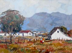 Cottages in landscape. Oil on board: 61 cm x 45 cm African Artwork, African Paintings, South African Artists, Cottages, Artworks, Oil, Watercolor, Landscape, Board