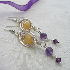 Wire Wrapped Dangly Earrings with Amethyst and Yellow Jade £7.95