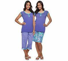 Carole Hochman Magnolia Floral 3-pc Capri and Bermuda Shorts Pajama Set