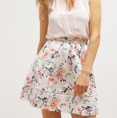 mint&berry Spódnica trapezowa white allysum w kwiaty floral skirt