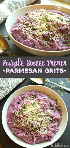 Purple Sweet Potato Parmesan Grits are a quick, easy and colorful side dish to your everyday dinner or holiday entertaining. Side Recipes, Brunch Recipes, Seafood Recipes, Dinner Recipes, Healthy Side Dishes, Vegetable Side Dishes, Healthy Cooking, Healthy Recipes, Healthy Food