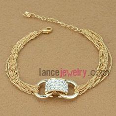 Shiny chain link bracelet with rhinestone ring decoration