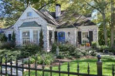 Charming cottage right down to the beautiful wrought iron fencing. Marietta, GA homes Brick Cottage, Cottage Living, Cottage Homes, Country Living, French Cottage, Cottage Style, Tudor Cottage, Cute House, Historic Homes