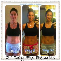 21 Day Fix Results. Here are my #21dayfix pictures along with using #shakeology. I have lost a little over 10 pounds in 21 days! This program has taught me how to lose weight the healthy way and I can't wait to follow the nutritional part of the program for the rest of my life. If your looking for someone to coach you through this program, contact me today. Donnacfitness@gmail.com #EndTheTrend #ShakeandShare #21DayFixResults