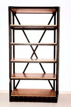 biblioteca estantería hierro madera industrial