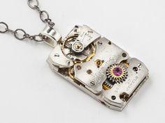 Steampunk Necklace silver Elgin watch movement purple amethyst crystal mens pendant unisex Steampunk jewelry  #SteampunkNecklace  #SteampunkJewelry #SteampunkJewelrybyMariaSparks