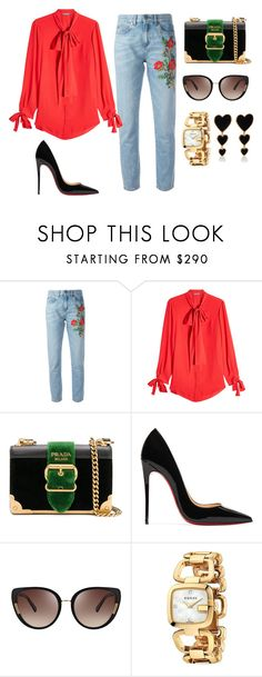 """""""Untitled #224"""" by jovanaaxx on Polyvore featuring Gucci, Alexander McQueen, Prada, Christian Louboutin, Oscar de la Renta and Edie Parker"""