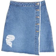 Womens Mini Skirts SJYP Destroyed Blue Denim Mini Skirt ($270) ❤ liked on Polyvore