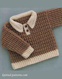 Baby-boy pullover crochet free pattern ༺✿ƬⱤღ✿༻
