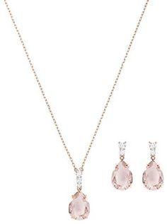 SWAROVSKI Women's Vintage Tear Drop Necklace & Earrings 2 Piece Set Crystal Jewelry Collection