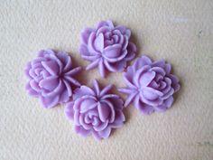 4PCS  Rose Flower Cabochons  Resin  Purple  17x18mm by ZARDENIA, $3.00