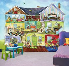 My friends house kids wall mural, Prepasted Washable and dry strippable wall paper, wall covering