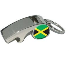Jamaica Jamaican Flag, Plated Metal Whistle Bottle Opener Keychain Key Ring, Silver