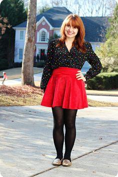Red Velvet Skater Skirt, Vintage Colorful Polka Dot Top, & Gold Sparkly Loafers. #winterfashion #holiday