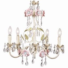 "Ivory Flower Garden Chandelier.  How does your garden grow? Scrolling soft ivory arms dotted with soft sage leaves culminating in beautiful white washed pink petal flowers makes this a stunning chandelier. A splattering of crystals and draping beads add a little sparkle. Chandelier measures 17"" wide x 19"" high and holds 5 40 watt candelabra bulbs."