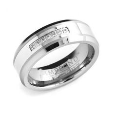 Discount Price: $195 -  8mm Tungsten Carbide Wedding Band Ring For Men With Diamonds
