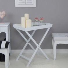 Rozkładany stolik, taca, kolor biały, matowy.