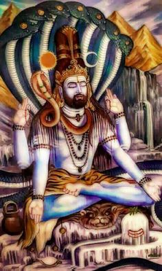 Lord shiva as adiyogi in creative art painting Arte Shiva, Mahakal Shiva, Shiva Statue, Shiva Art, Hindu Art, Krishna Art, Tantra, Shiva Yoga, Lord Shiva Hd Images
