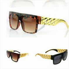 DescriptionBlack, Brown, and Leopard sunglasses with bold gold chains. Lens size is 2.5 inches by 2 inches