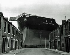 "The ship (tanker class) is ""World Unicorn"" being built at Swan Hunter's shipyard. Which is in Wallsend, Newcastle Upon Tyne, Northeast England, UK.Trivia time, a person from the Newcastle Upon Tyne area is known as a Geordie (with a soft G). Victorian London, Vintage London, Old London, London 1800, London Pictures, Old Pictures, Old Photos, Iconic Photos, London Photos"