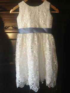 White Lace Flower Girl Dress Blue Band | eBay