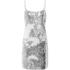 Evie Sequin Dress (2.530 DKK) ❤ liked on Polyvore featuring dresses, metallic, slip dresses, sequin cocktail dresses, night out dresses, gray cocktail dress and grey party dresses