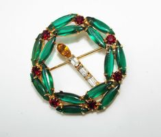 Vintage Rhinestone Christmas WREATH Pin BROOCH green red Candle costume jewelry #unsigned