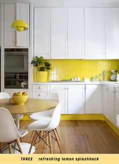 3 Ways To Decorate With Yellow In The Kitchen, i love yellow!! brightens up the room :) sets a happy mood.