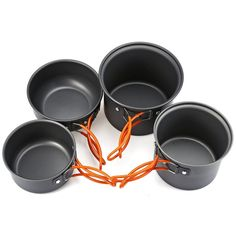 4 pz in lega outdoor cooking set pan pot ciotola pieghevole maniglie campeggio…