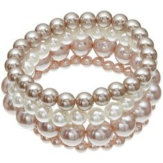 John Lewis Multi Row Faux Pearl Bracelet, Pink/Cream (46 BRL) ❤ liked on Polyvore featuring jewelry, bracelets, adjustable bangle, pink jewelry, john lewis jewellery, john lewis jewelry and polish jewelry