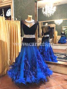 社交ダンスドレスのドレスネットアニエル / M4483・【Silvia design】黒&青【デボラ着用】・16万円