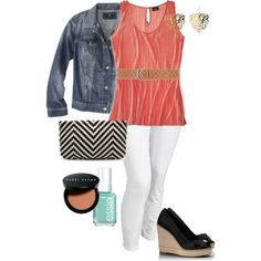 Spring Dreams - Plus Size - Polyvore - idk if I'd ever wear white pants but this is cute