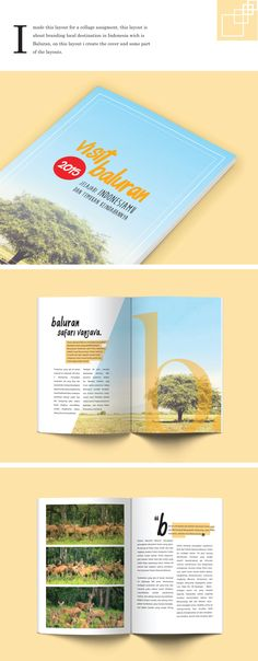 I made this Layout for assigment on my collage back then, this assigment was about branding our local destination in Indonesia which is Baluran, on this assigment i made the cover and the layout inside.