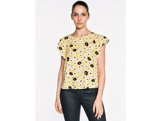 Cutout Floral Gathered Top