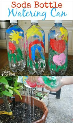 Soda Bottle Watering Can - Great activity for earth day! Teaches kids to recycle and take responsibility for plants. Earth Day Activities, Spring Activities, Toddler Activities, Preschool Activities, Kid Activites, Therapy Activities, Writing Activities, Recycling Activities For Kids, Recycling Projects For Kids