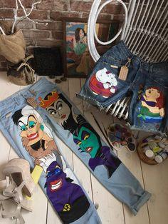 Disney shorts Hand painted shorts Festival shorts Denim shorts Painted shorts Summer shorts High wai Painted Shorts, Painted Denim Jacket, Painted Jeans, Painted Clothes, Distressed Shorts, Hand Painted, Handmade Clothes, Custom Clothes, Diy Clothes