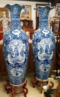 Palatial Pair 5 Ft Chinese Porcelain Vases Blue White W Rosewood Stands 73