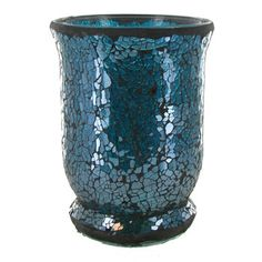 Turquoise Mosaic Glass Hurricane Candle Holder