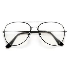 52b774b0ad Crystal Clear Non Prescription Lens   Classic Tear Drop Aviator   Nickel  Finish Frame   Adjustable Nose Pads   Fashionable Dress Up Eyewear   Total  ...