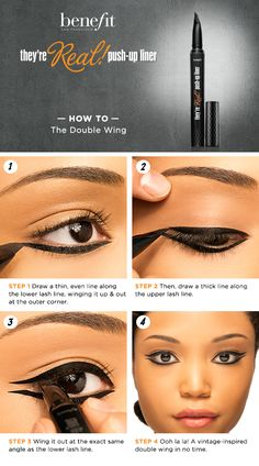 Double wing liner look - 18 Unique And Fun Eyeliner Tutorials You Need To Try Bottom Eyeliner, How To Do Eyeliner, Black Eyeliner, Glitter Eyeliner, Eyeliner Pen, Eyeliner Designs, Eyeliner Ideas, Love Makeup, Makeup Looks