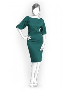 This is a lovely, modest dress that is slimming with full sleeves and a boat neck.