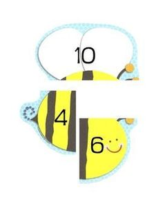 Bumble Bee Number Bonds (could use any shape, animal, etc.) Easy center I'm…