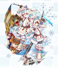 Tags: Anime, Winter, Snowflakes, Monster Hunter, Capcom, Urukususu (Armor)
