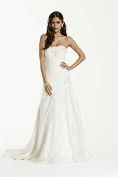 b34fb854acf David s Bridal David s Bridal Collection Style YP3344 Lace A-line gown with  side-split