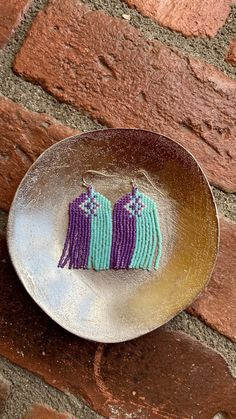 Chubbeadrings Turquoise and Purple Patterned Beaded Earrings By Chubbeadrings by chubbybeadedearrings on Etsy Etsy Earrings, Beaded Earrings, Turquoise And Purple, Purple Pattern, One More Step, Brick Stitch, Vienna, Beadwork, Search