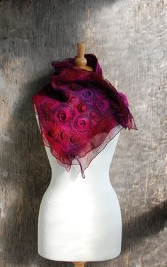 Nuno felted scarf Felted collar nuno felted neck warmers merino wool silk pink purple red felt scarf winter accessories gift for her by AnnaWegg on Etsy https://www.etsy.com/uk/listing/511930371/nuno-felted-scarf-felted-collar-nuno